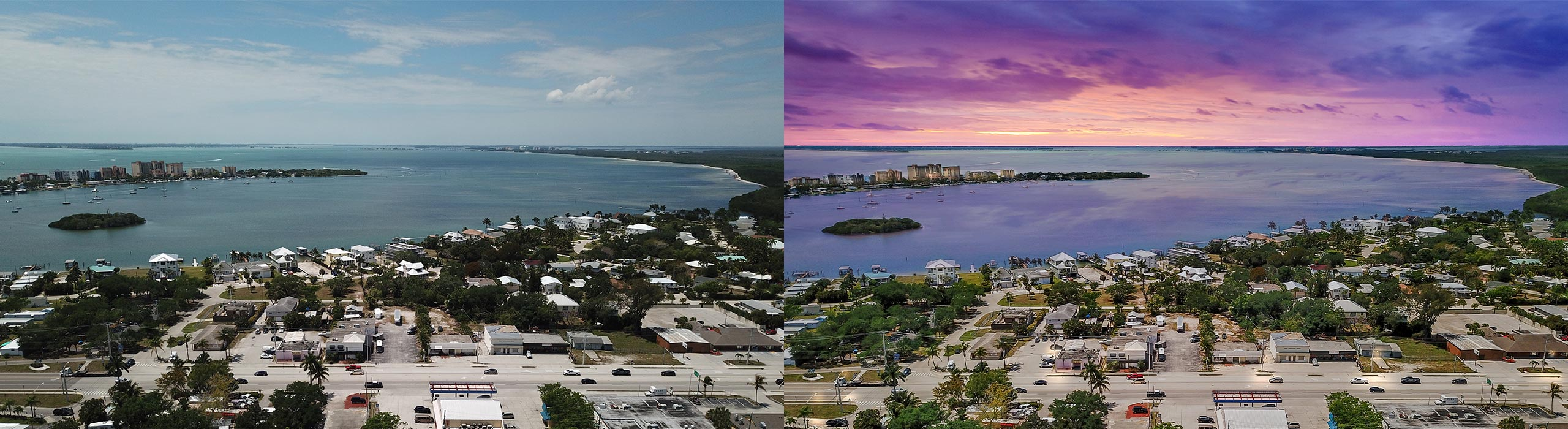 Commercial Day to Dusk – before and after