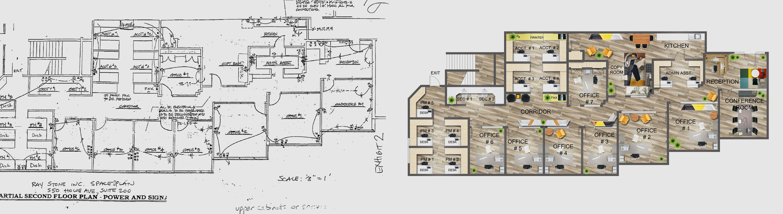 Commercial Floor Plan – before and after