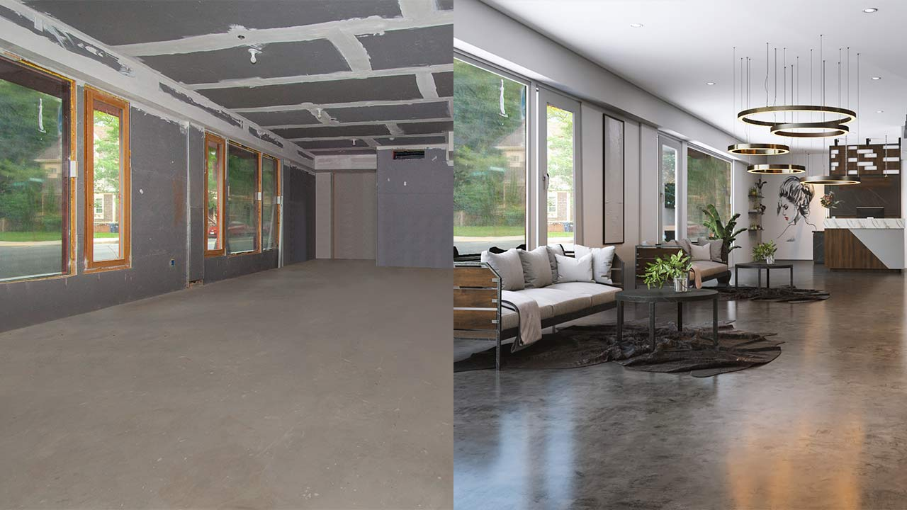Commercial Virtual Renovation – before and after