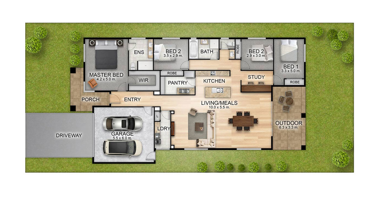 Floor and Site Plan Combination